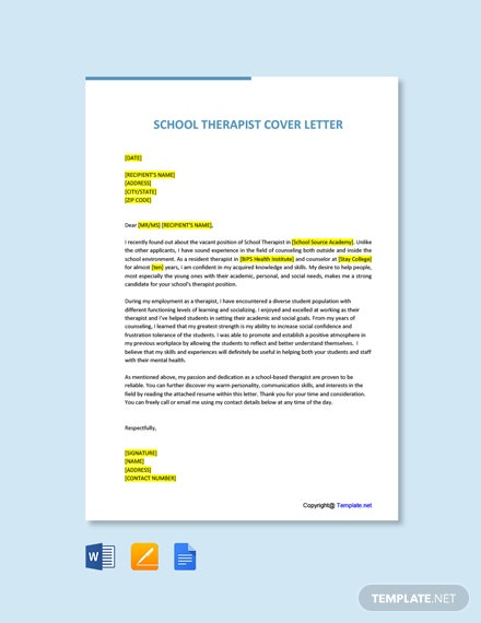 Free School Therapist Cover Letter Template