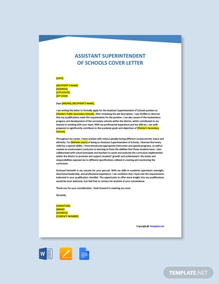 Free Assistant Superintendent of Schools Cover Letter Template