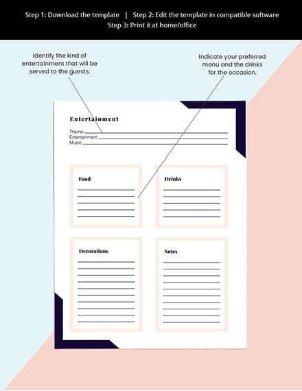 Printable Event Planner template Editable