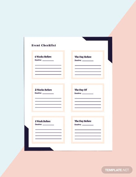 Printable Event Planner template Format