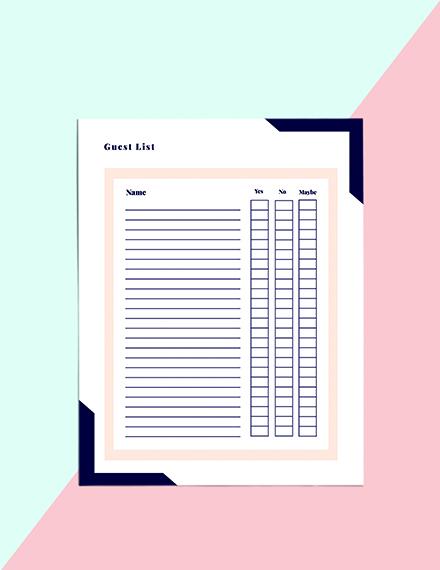 Printable Event Planner template Sample