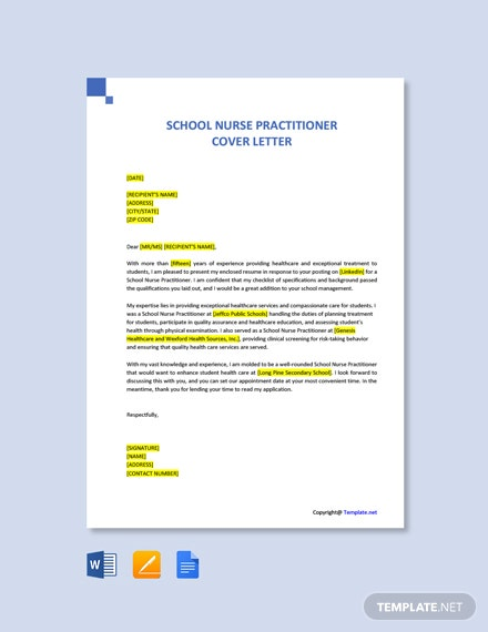 Free School Nurse Practitioner Cover Letter Template