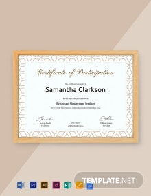 Free Blank Certificate of Participation Template