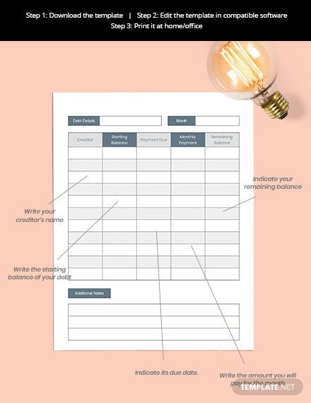 Debt Planner Format