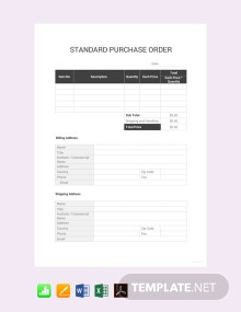 Free Standard Purchase Order Template