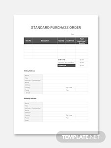 Standard Purchase Order Template