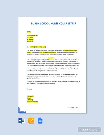 Free Public School Nurse Cover Letter Template