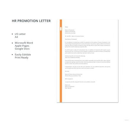 HR Promotion Letter Template