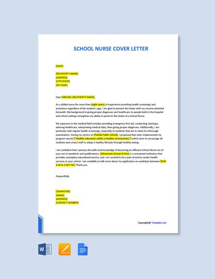 Free School Nurse Cover Letter Template