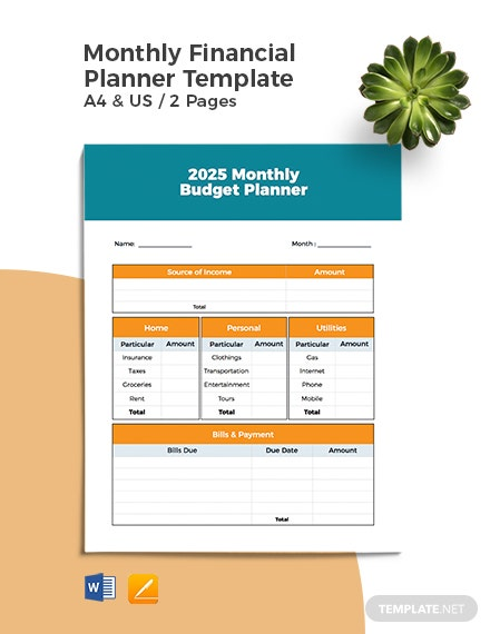 Monthly Financial Planner Template