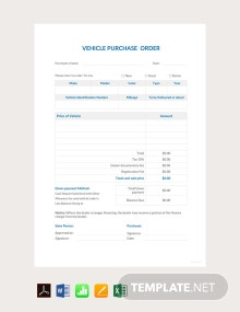 Free Vehicle Purchase Order Template