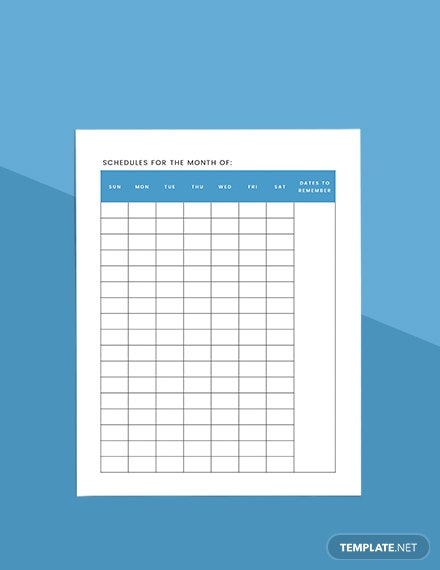Monthly Planner Sample