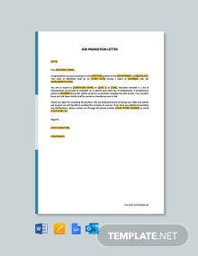 Free Job Promotion Letter Template