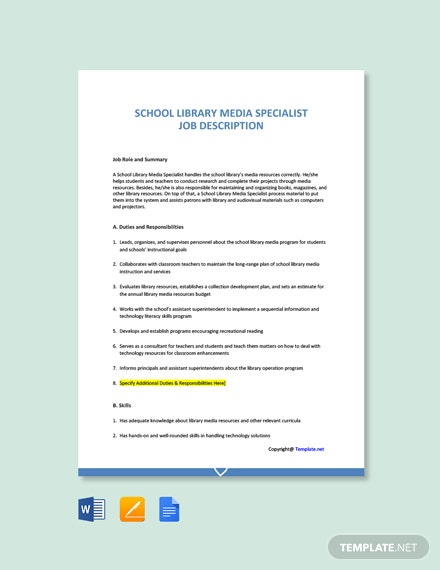 Free School Library Media Specialist Cover Letter Template