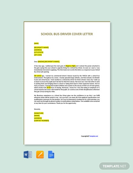 Free School Bus Driver Cover Letter Template