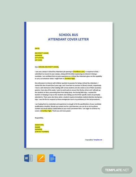 Free School Bus Attendant Cover Letter Template