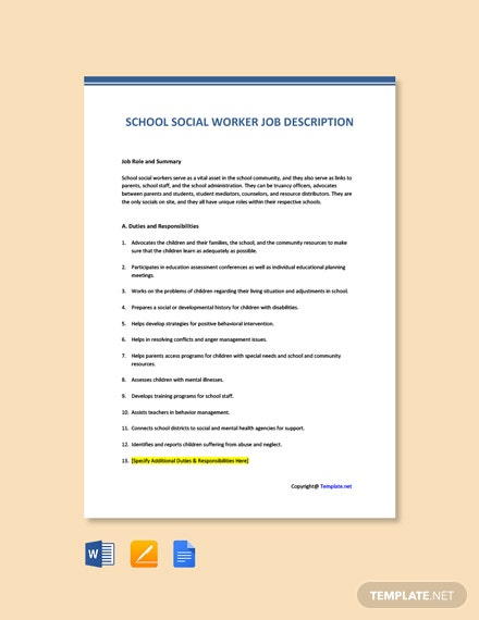Free School Social Worker Job Ad and Description Template