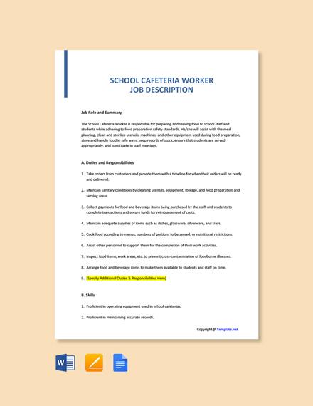 Free School Cafeteria Worker Job Description Template