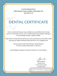 Dental Medical Certificate Sample Template