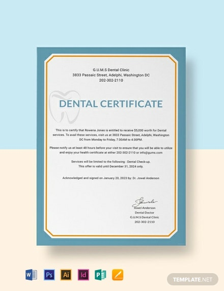 Free Dental Medical Certificate Sample Template