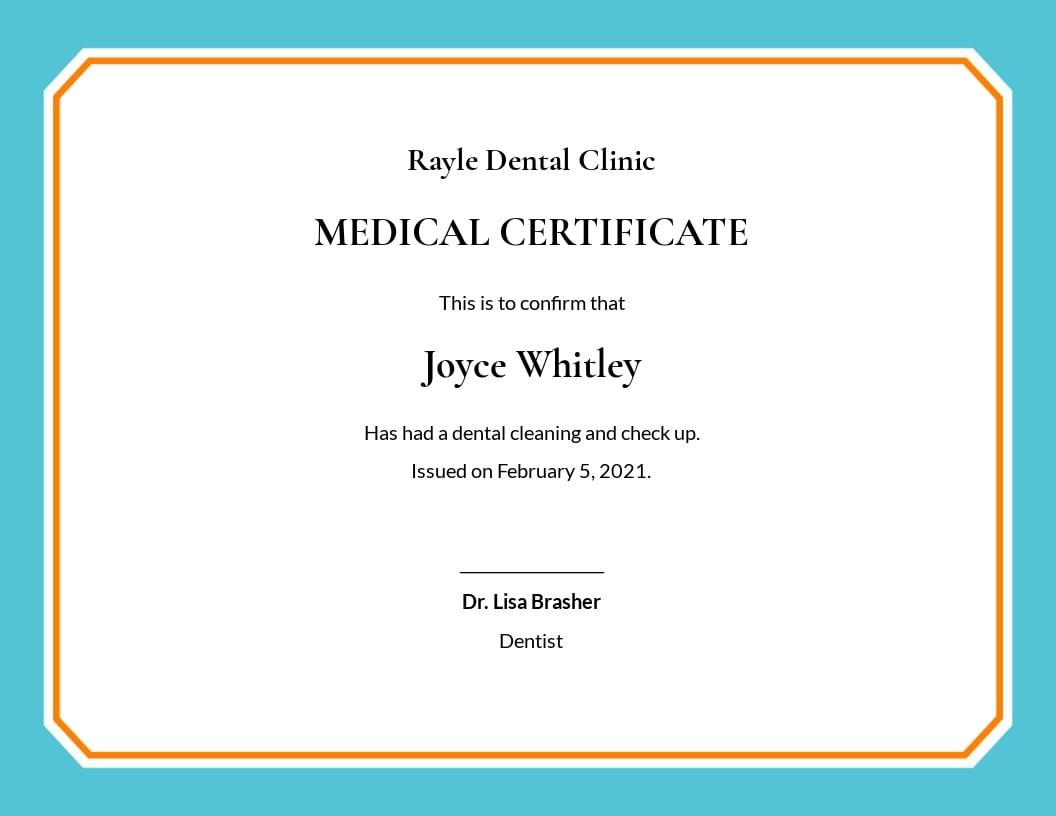 Free Dental Medical Certificate Sample Template