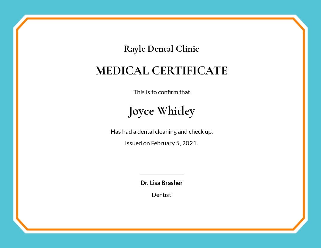 Free Dental Medical Certificate Sample Template.jpe