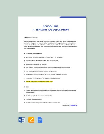 Free School Bus Attendant Job Ad/Description Template