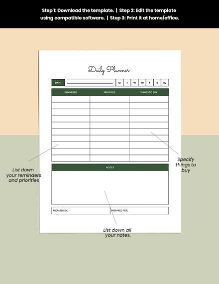 Journal Planner Sample