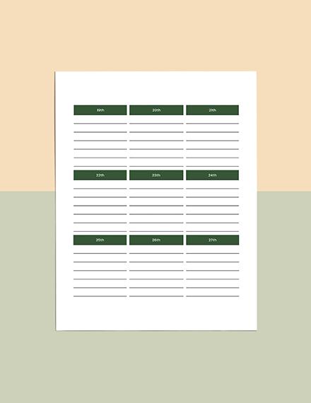 Example Journal Planner