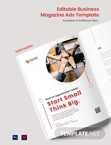 Free Editable Business Magazine Ads Template