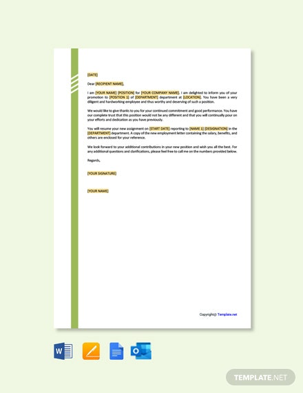 Free Promotion Letter from Employer