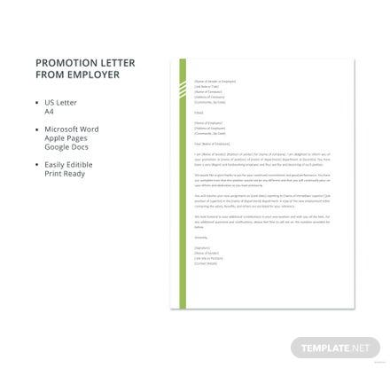 Promotion Letter from Employer