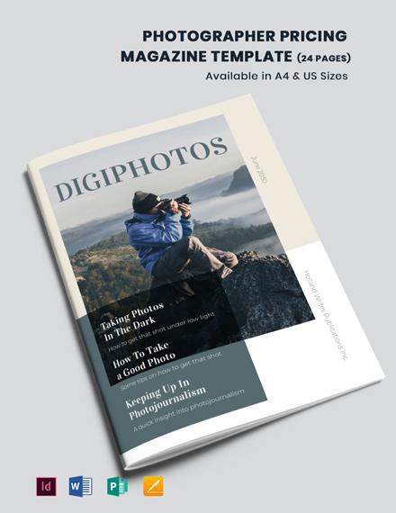 Photographer Pricing Magazine Template