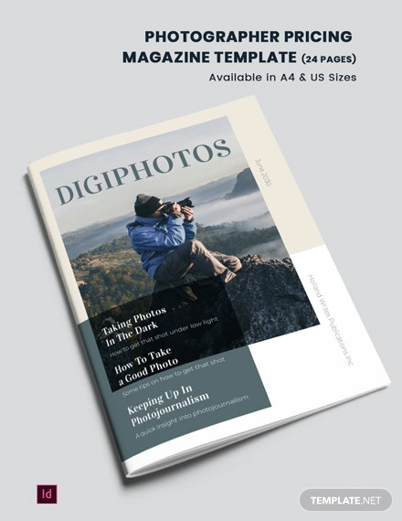 Photographer Pricing Magazine Template