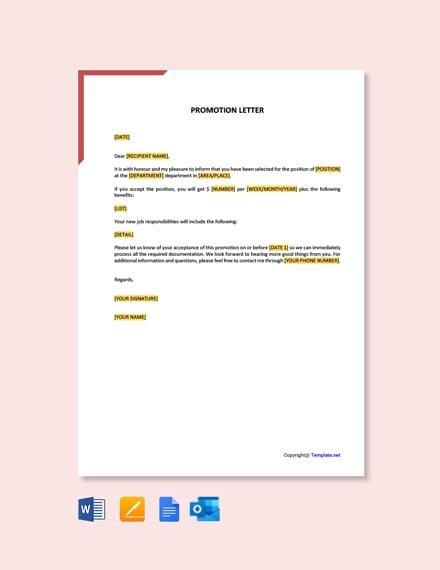 Free Promotion Letter Sample