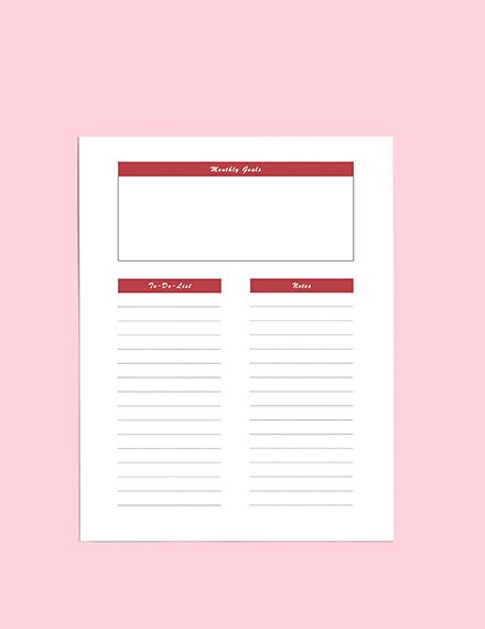 Schedule Planner Weekly Goals