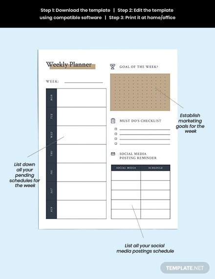 Editable Marketing Planner