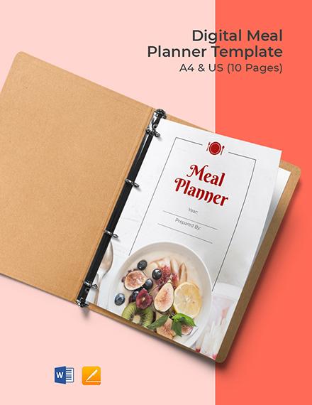 Digital Meal Planner Template