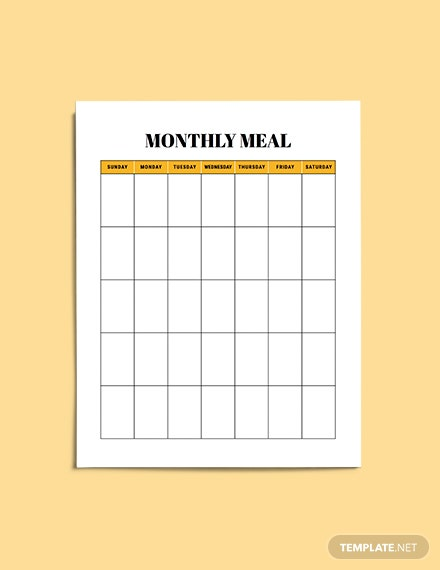 Monthly meal planner example