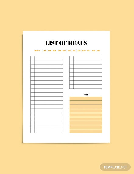 sample Monthly meal planner