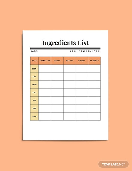 Weekly meal planner example