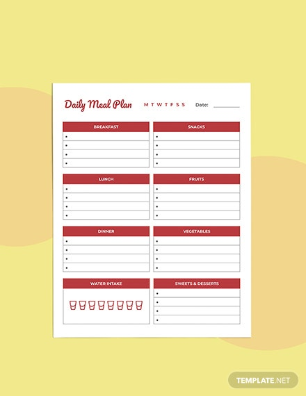 Daily Meal planner template Format