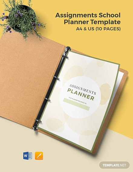Assignments School Planner Template