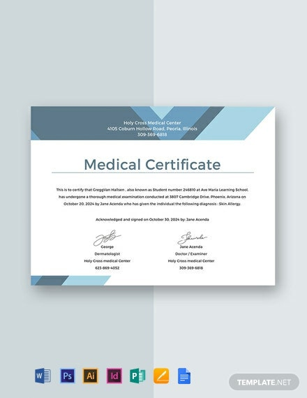 Free Medical Certificate for Student Template