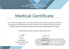 Medical Certificate for Student Template