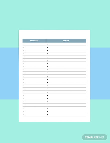 Notes school planner template Example