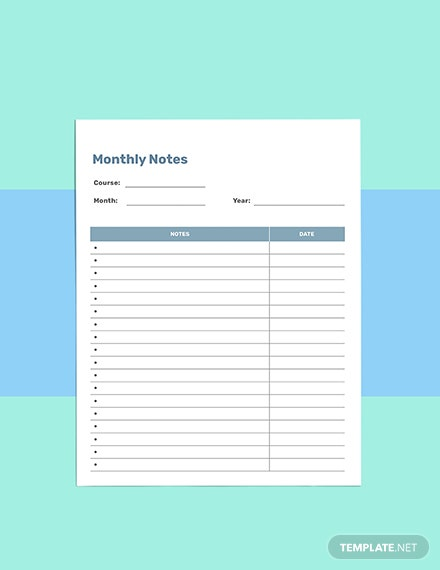 Notes school planner template Sample