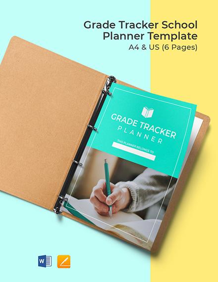 Grade Tracker School Planner Template