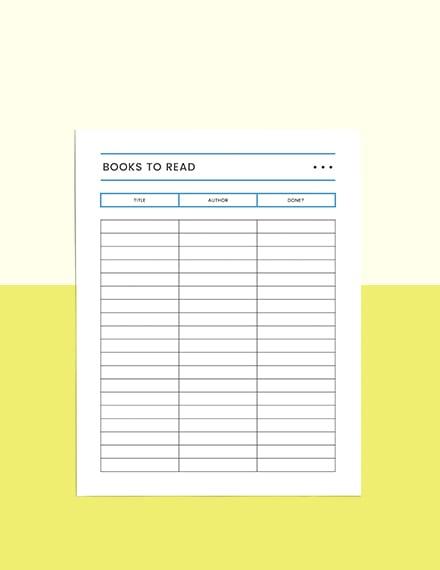 Reading Log school planner Format