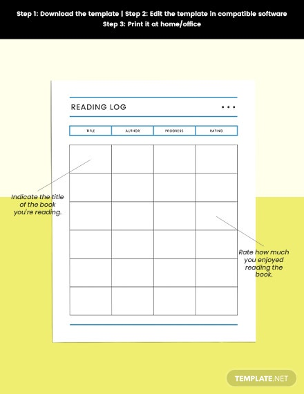 Reading Log school planner Printable